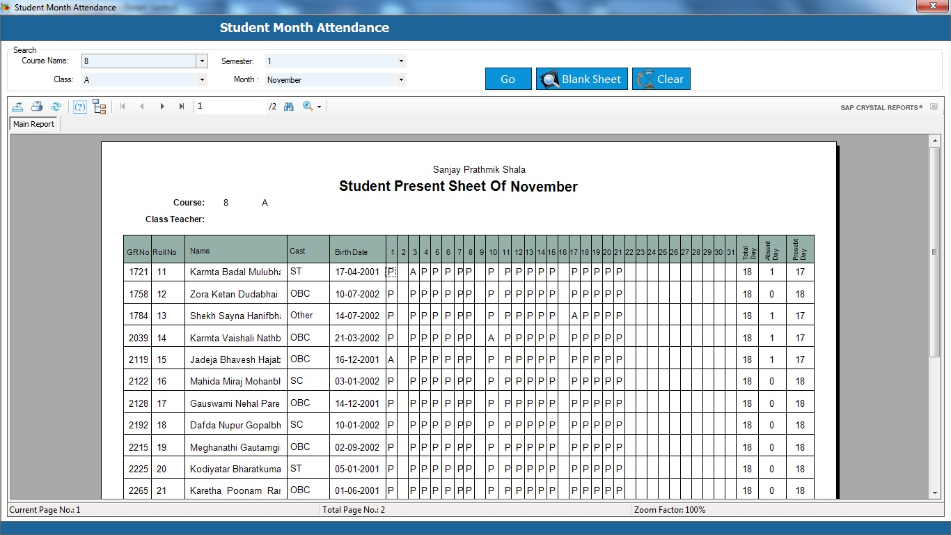 School Management System Software Student Attendance Report
