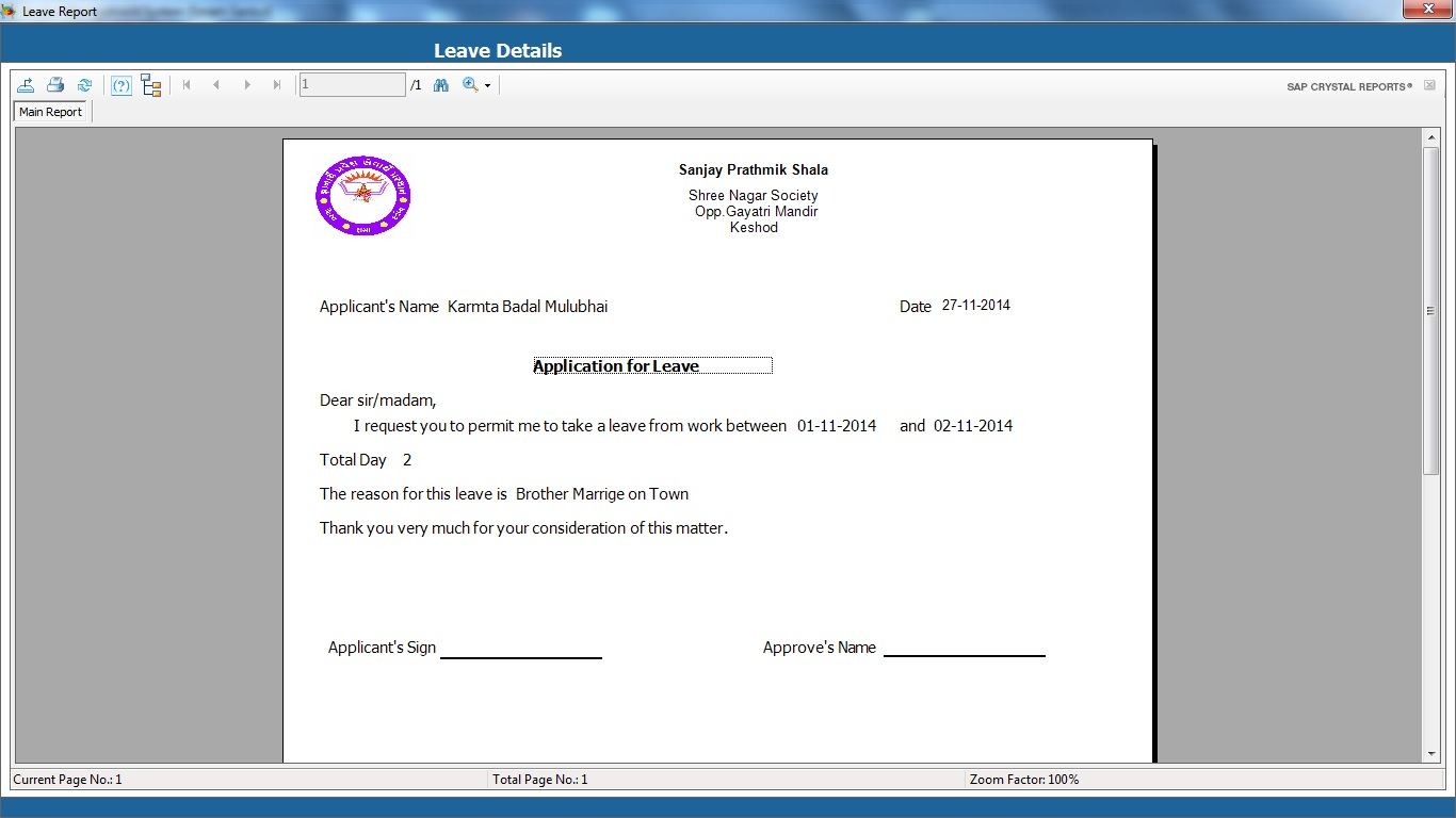 School Management System Software Leave Application