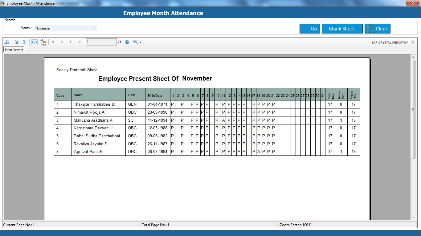 School Management System Software Employee Attendance