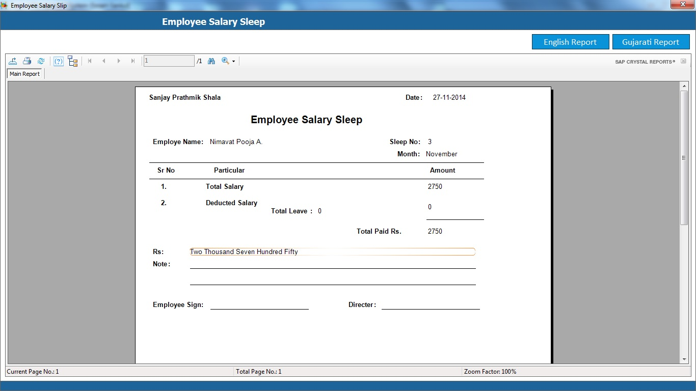 School Management System Software Employee Salary Sleep