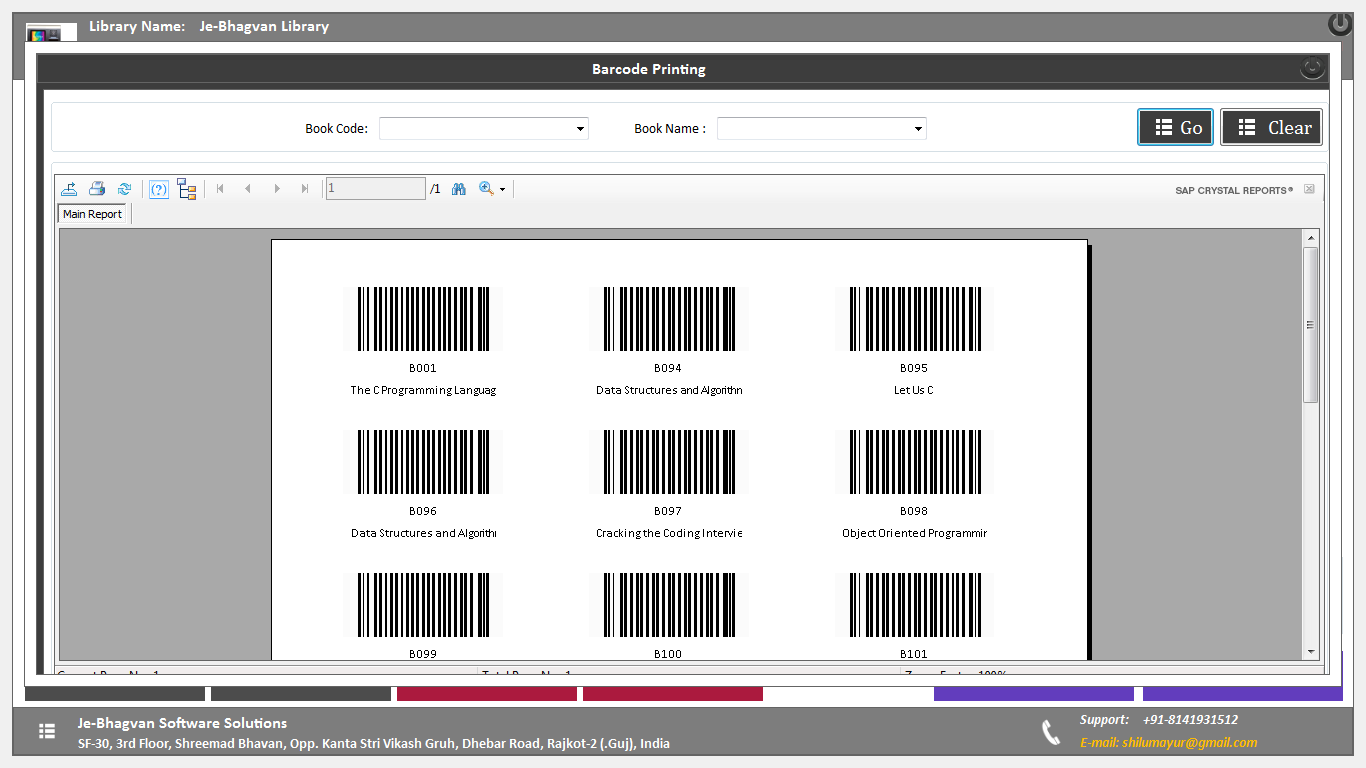 Library Management System Software with barcode generator
