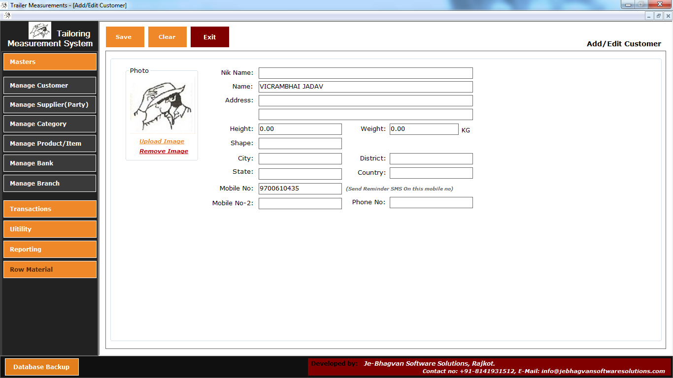 Tailoring Management System Software Customer
